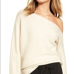 Treasure and Bond Off the Shoulder Ribbed Sweater